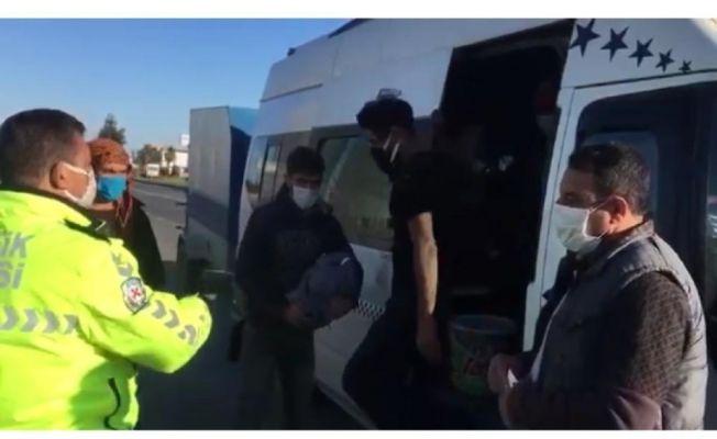 15 kişilik minibüsten 34 kişi çıktı