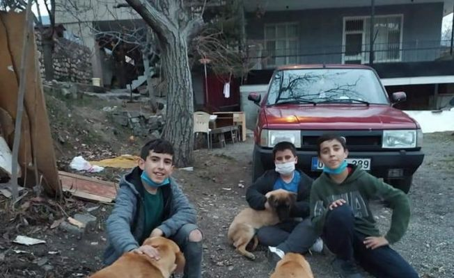 Sokak hayvanlarını besleyen çocuklara hediye