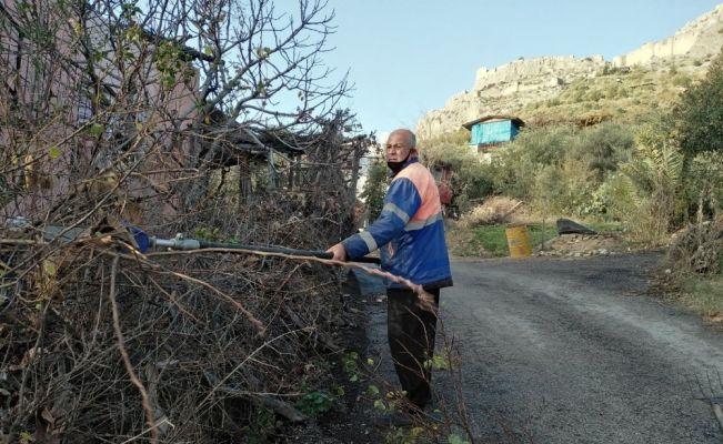 Kozan'da yol kenarlarındaki ağaçlar budanıyor