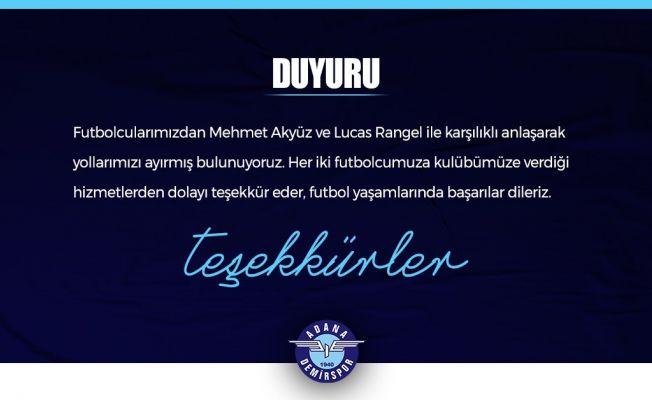 Adana Demirspor'da, Mehmet Akyüz ve Lucas Rangel ile yollar ayrıldı