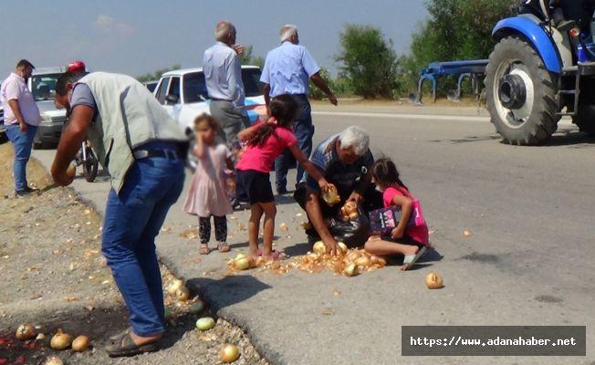 'Para etmiyor' diye Akşener'in önüne döktüğü soğanları gidince geri topladı