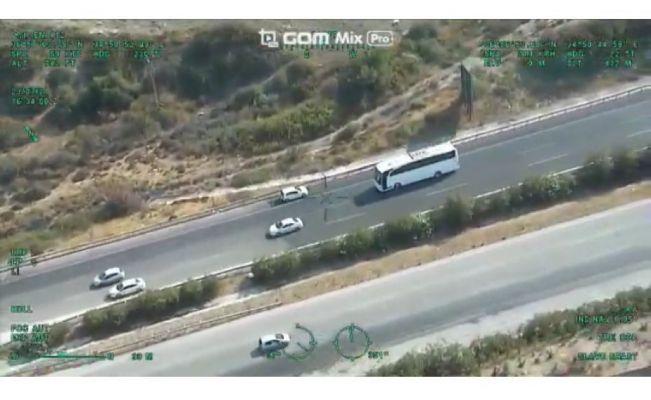 Trafik magandaları helikopterli takiple yakalandı