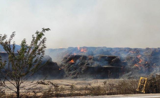 30 bin ton mısır balyasının bulunduğu depoda yangın çıktı